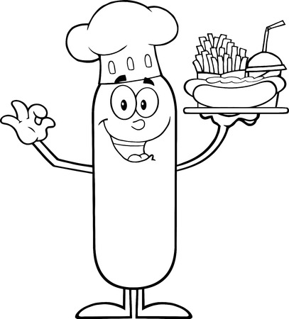 hot dog: Black And White Happy Chef Sausage Cartoon Character Carrying A Hot Dog, French Fries And Cola.  Illustration Isolated On White