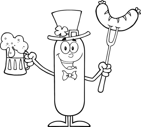 Black And White Leprechaun Sausage Cartoon Character Holding A Beer And Weenie On A Fork.  Illustration Isolated On White Vector