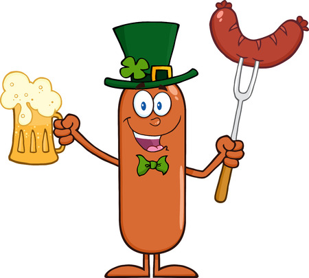 Leprechaun Sausage Cartoon Character Holding A Beer And Weenie. Illustration Isolated On White Vector