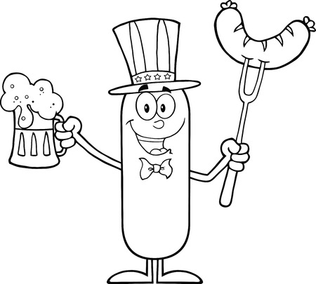 Black And White Patriotic Sausage Cartoon Character Holding A Beer And Weenie On A Fork.  Illustration Isolated On White Vector