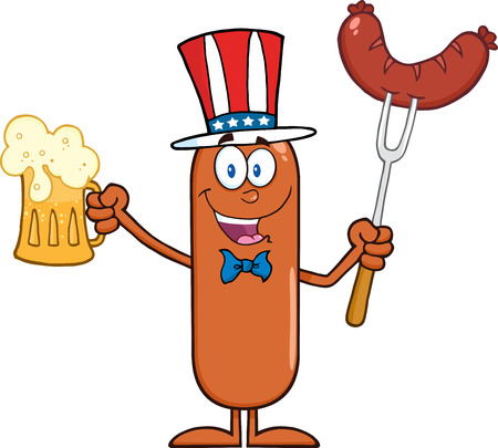 Patriotic Sausage Cartoon Character Holding A Beer And Weenie On A Fork.  Illustration Isolated On White Stock Illustratie
