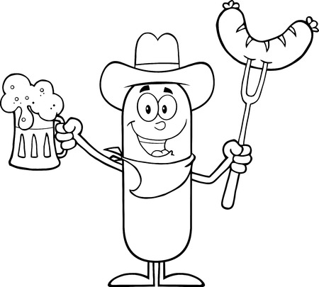 Black And White Cowboy Sausage Cartoon Character Holding A Beer And Weenie On A Fork. Illustration Isolated On White Vector