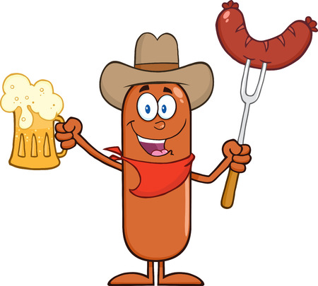 Cowboy Sausage Cartoon Character Holding A Beer And Weenie On A Fork. Illustration Isolated On White Vector
