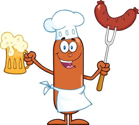 Gelukkig Karakter Chef Sausage Cartoon Holding een biertje en Weenie Op Een Vork. Illustratie geïsoleerd op wit