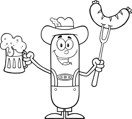 Black And White German Oktoberfest Sausage Cartoon Character Holding A Beer And Weenie On A Fork.  Illustration Isolated On White Illusztráció