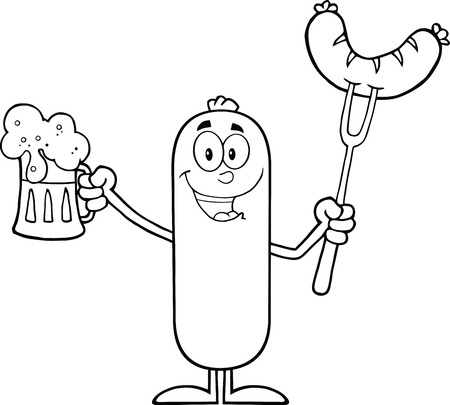 Black And White Black And White Happy Sausage Cartoon Character Holding A Beer And Weenie On A Fork  Illustration Isolated On White