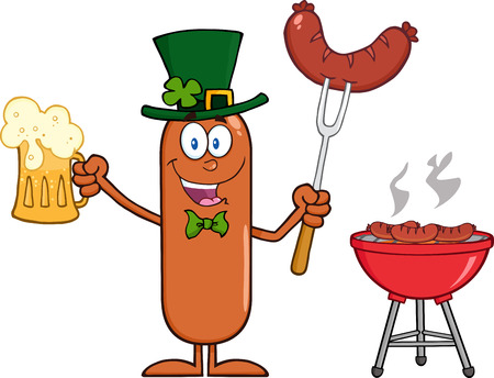 Leprechaun Sausage Cartoon Character Holding A Beer And Weenie Next To BBQ. Illustration Isolated On White Vector