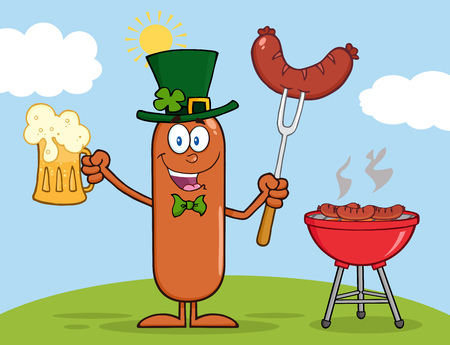 Leprechaun Sausage Cartoon Character Holding A Beer And Weenie Next To BBQ Vector