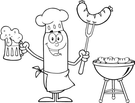 Black And White Happy Chef Sausage Cartoon Character Holding A Beer And Weenie Next To BBQ. Illustration Isolated On White