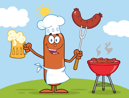 weenie: Happy Chef Sausage Cartoon Character Holding A Beer And Weenie Next To BBQ Illustration