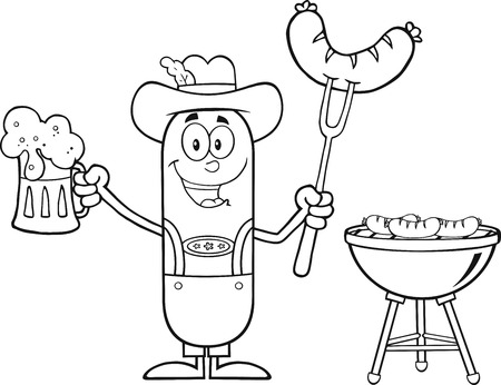 Black And White German Oktoberfest Sausage Cartoon Character Holding A Beer And Weenie Next To BBQ. Illustration Isolated On White Vector