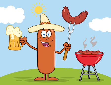 weenie: Happy Mexican Sausage Character Holding A Beer And Weenie Next To BBQ