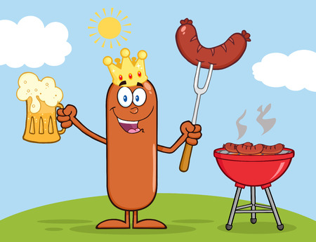 weenie: Happy King Sausage Cartoon Character Holding A Beer And Weenie Next To BBQ