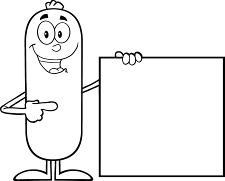 Black And White Sausage Cartoon Character Pointing To A Blank Sign. Illustration Isolated On White 矢量图像