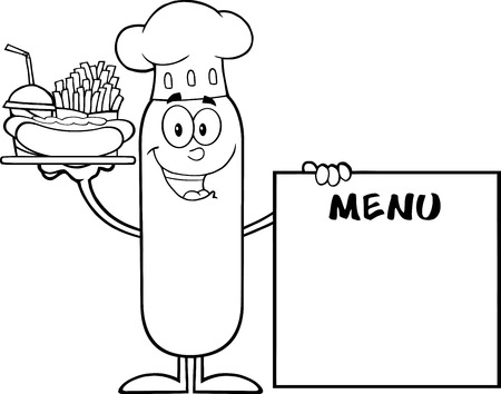 french board: Black And White Chef Sausage Carrying A Hot Dog, French Fries And Cola Next To Menu Board. Illustration Isolated On White