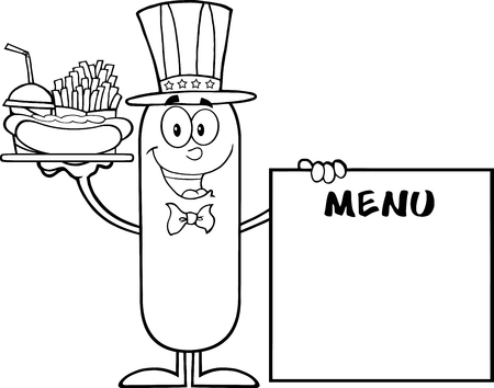 french board: Black And White Patriotic Sausage Carrying A Hot Dog, French Fries And Cola Next To Menu Board. Illustration Isolated On White Illustration