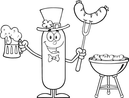Black And White Leprechaun Sausage Cartoon Character Holding A Beer And Weenie Next To BBQ. Illustration Isolated On White Vector