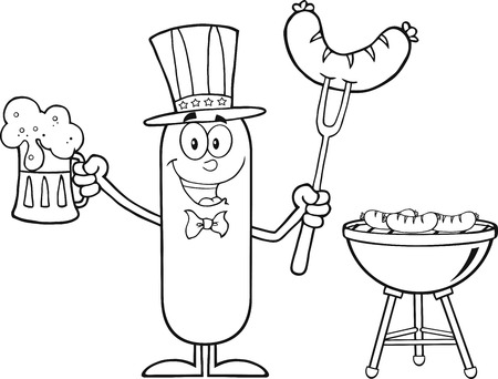 weenie: Black And White Patriotic Sausage Cartoon Character Holding A Beer And Weenie Next To BBQ.  Illustration Isolated On White