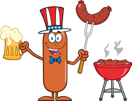 Patriotic Sausage Cartoon Character Holding A Beer And Weenie Next To BBQ.  Illustration Isolated On White Stock Illustratie