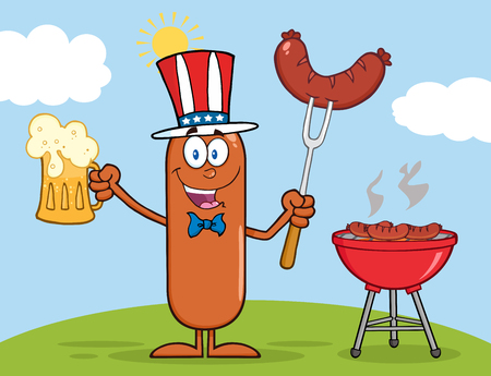 weenie: Patriotic Sausage Cartoon Character Holding A Beer And Weenie Next To BBQ