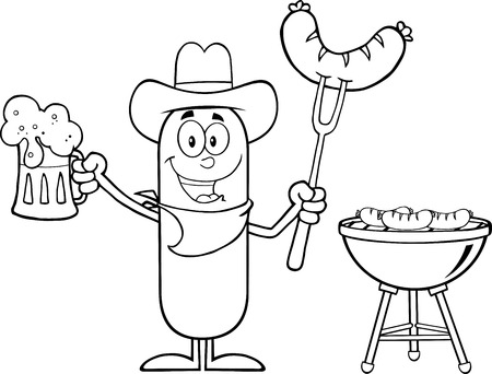 weenie: Black And White Cowboy Sausage Cartoon Character Holding A Beer And Weenie Next To BBQ. Illustration Isolated On White Illustration