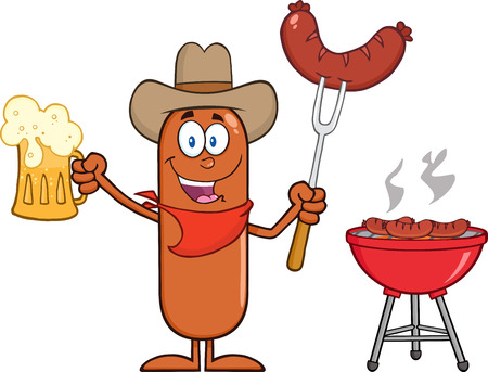 Cowboy Sausage Cartoon Character Holding A Beer And Weenie Next To BBQ. Illustration Isolated On White