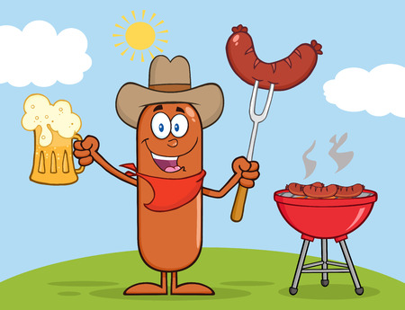 weenie: Cowboy Sausage Cartoon Character Holding A Beer And Weenie Next To BBQ