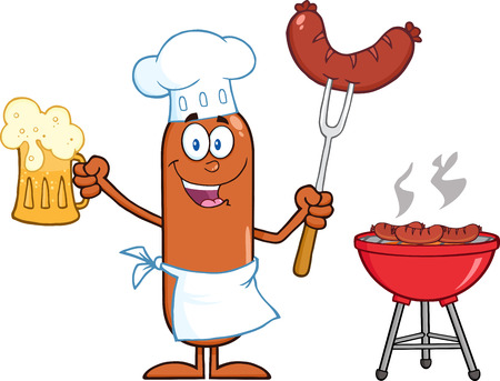 weenie: Happy Chef Sausage Cartoon Character Holding A Beer And Weenie Next To BBQ. Illustration Isolated On White Illustration
