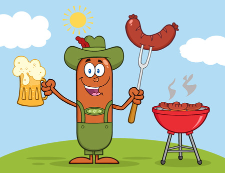 weenie: German Oktoberfest Sausage Cartoon Character Holding A Beer And Weenie Next To BBQ Illustration