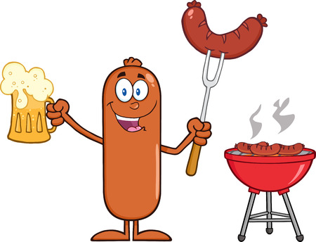 weenie: Happy Sausage Cartoon Character Holding A Beer And Weenie Next To BBQ.  Illustration Isolated On White Illustration