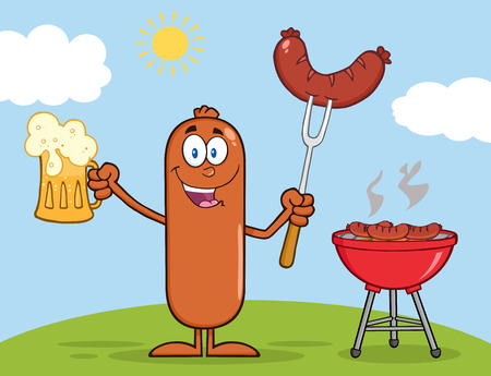 Happy Sausage Cartoon Character Holding A Beer And Weenie Next To BBQ