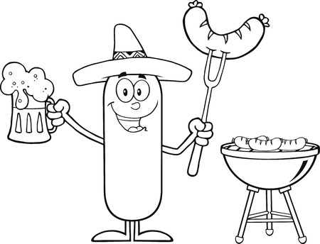 Black And White Mexican Sausage Cartoon Character Holding A Beer And Weenie Next To BBQ. Illustration Isolated On White Stock Illustratie