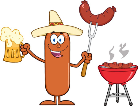 grilling: Happy Mexican Sausage Cartoon Character Holding A Beer And Weenie Next To BBQ. Illustration Isolated On White Illustration