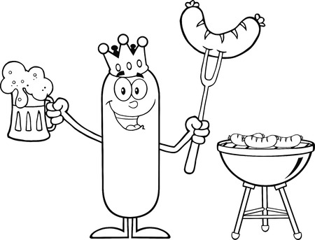 weenie: Black And White Happy King Sausage Holding A Beer And Weenie Next To BBQ. Illustration Isolated On White Illustration