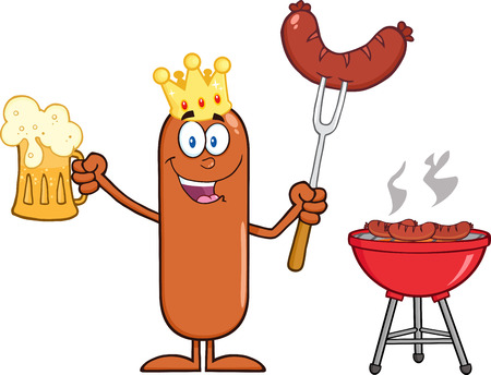 weenie: Happy King Sausage Cartoon Character Holding A Beer And Weenie Next To BBQ. Illustration Isolated On White