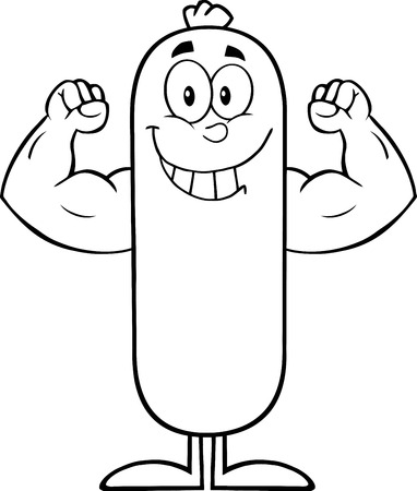flexing: Black And White Smiling Sausage Cartoon Character Flexing. Illustration Isolated On White Illustration