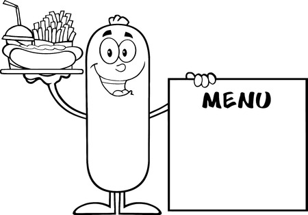 Black And White Sausage Carrying A Hot Dog, French Fries And Cola Next To Menu Board. Illustration Isolated On White