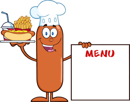 Chef Sausage Cartoon Character Carrying A Hot Dog, French Fries And Cola Next To Menu Board. Illustration Isolated On White