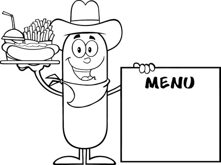 menu board: Black And White Cowboy  Sausage Carrying A Hot Dog, French Fries And Cola Next To Menu Board. Illustration Isolated On White