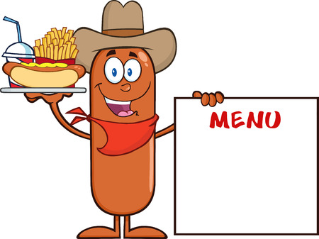 Cowboy  Sausage Cartoon Character Carrying A Hot Dog, French Fries And Cola Next To Menu Board. Illustration Isolated On White Vector