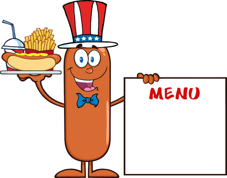 Patriotic Sausage Cartoon Character Carrying A Hot Dog, French Fries And Cola Next To Menu Board. Illustration Isolated On White