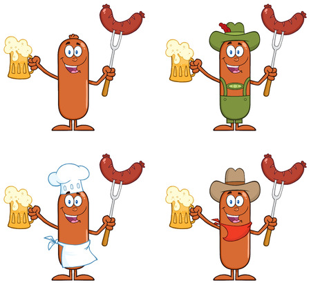 Sausage Cartoon Mascot Character 12.  Collection Set Isolated On White