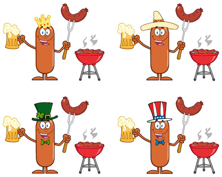 grilling: Sausage Cartoon Mascot Character 11. Collection Set Isolated On White