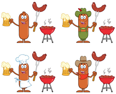 Sausage Cartoon Mascot Character 10. Collection Set Isolated On White
