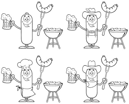 Black And White Sausage Cartoon Mascot Character 6. Collection Set Isolated On White Stock Illustratie