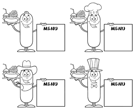 menu board: Black And White Sausage Cartoon Mascot Character 5. Collection Set Isolated On White Illustration