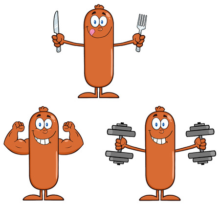 Sausage Cartoon Mascot Character 5. Collection Set Isolated On White