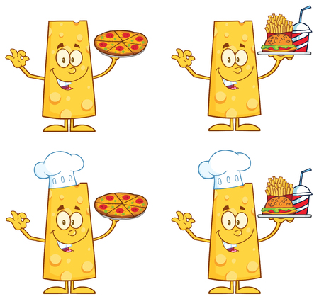 Cheese Cartoon Mascot Character 1.  Collection Set Isolated On White Vector