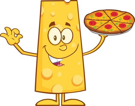 cheese cartoon: Funny Cheese Cartoon Character Holding A Pizza. Illustration Isolated On White