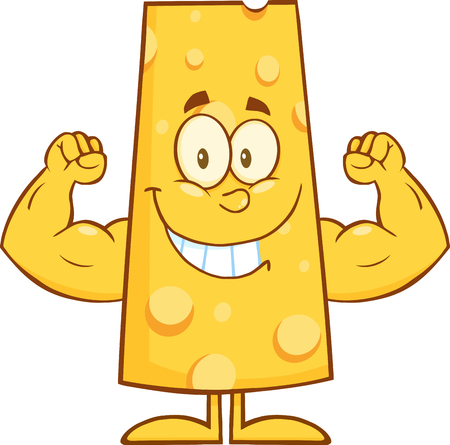 Smiling Cheese Cartoon Character Flexing.  Illustration Isolated On White
